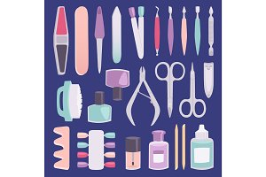 Manicure foot and hand fingers instruments vector fashion set cartoon style isolated