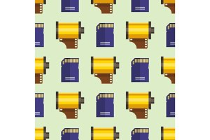 Camera photo memory card seamless pattern objective retro photography equipment professional look vector illustration