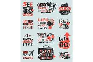Travel motivation text quote phrases badge vector logo illustration