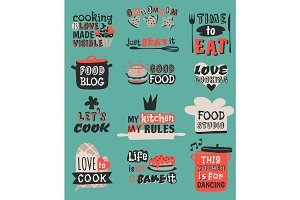 Food logotype restaurant vintage design cooking quote text phrases badge label icon and hand drawn stamp retro template vector illustration.