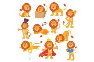 Lion mascot vector pose happy cartoon cute wild character safari mammal cat jungle animal illustration.