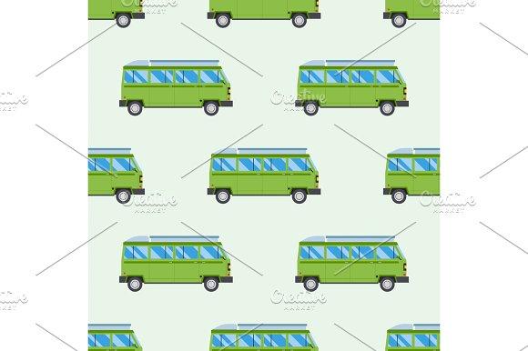 Campers vacation travel car summer seamless pattern trailer house vector illustration flat transport