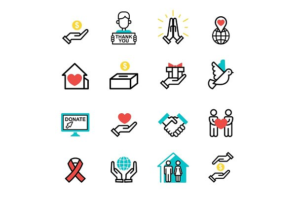 Donate money set outline icons help…