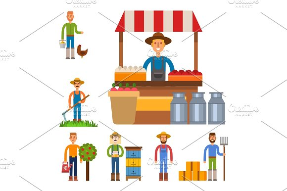 Farmer Character Man Agriculture Person Profession Rural Gardener Worker People Vector Illustration