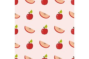 Apple background vector illustration textile red fruits slice seamless pattern.