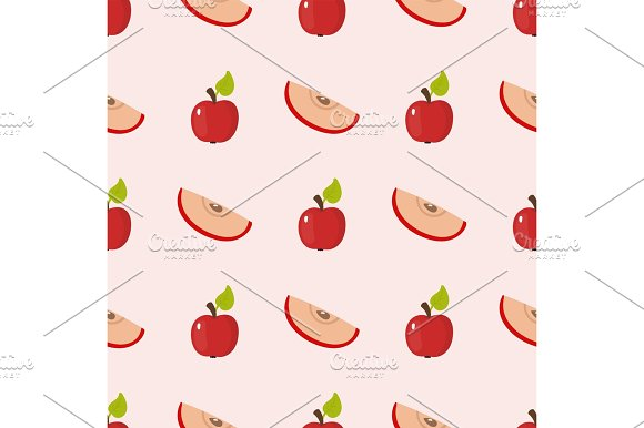 Apple background vector illustration textile red fruits slice seamless pattern. in Illustrations