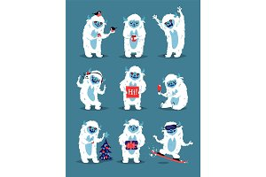 Cute Yeti Abominable Snowman, Bigfoot Sasquatch bigfoot monsters character like people vector set.