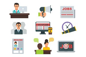 Vector job search icon set computer office concept human recruitment employment work meeting manager