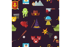 Cinema genre icons set cinematography flat entertainment comedy, drama, thriller movie production symbol vector illustration pattern seamless background