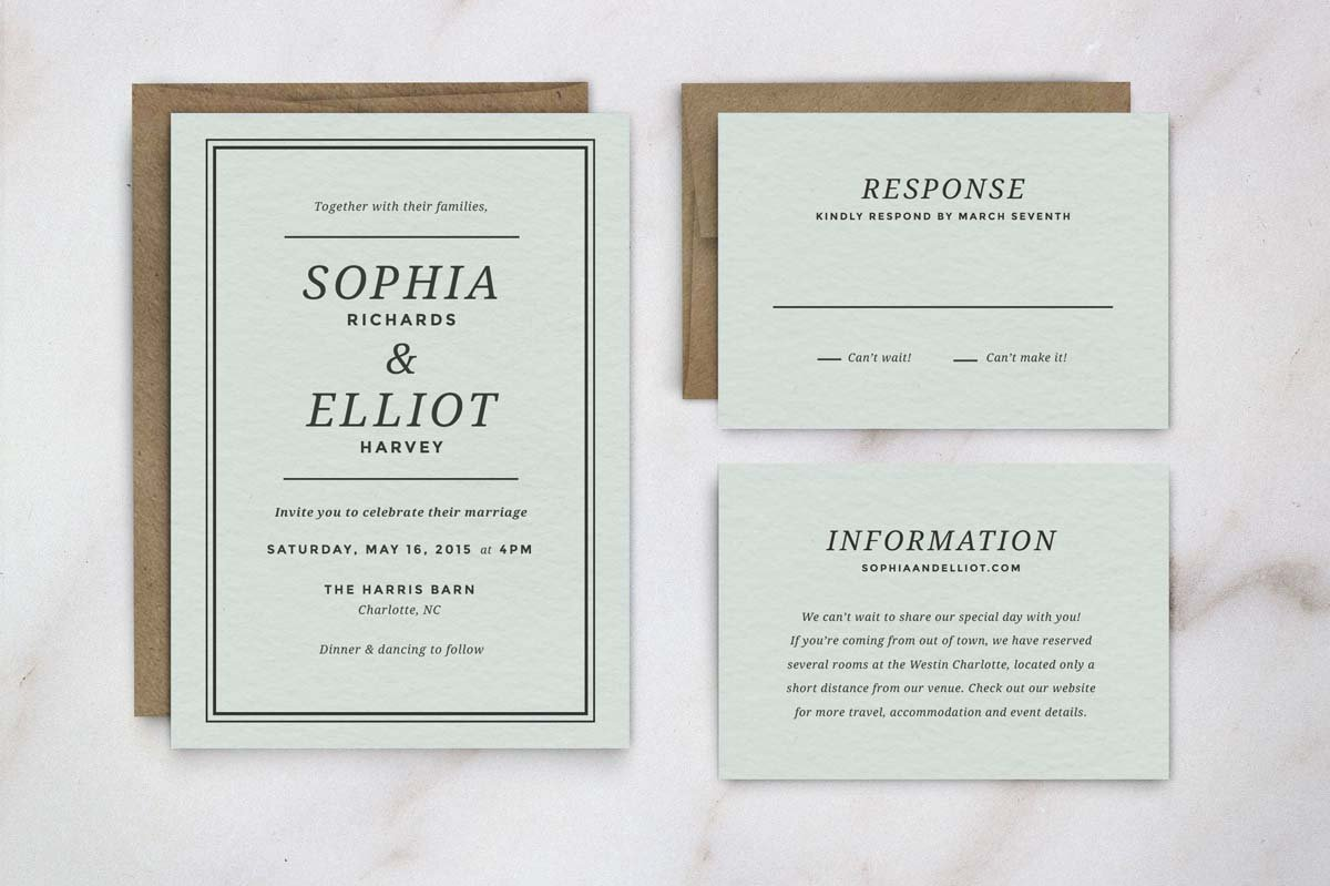 Wedding Invitation Suite Templates: Wedding Invitation Template Suite