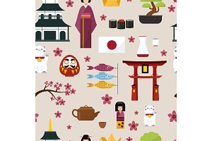 Japan famouse culture architecture buildings and japanese traditional food vector icons of travel vacation to country pattern seamless background