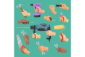 Human worker hands holding construction repair instrument tools vector cartoon style