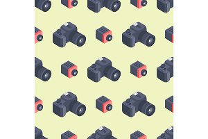 Photo camera isometric vector seamless pattern instrument objective equipment photography professional look illustration.