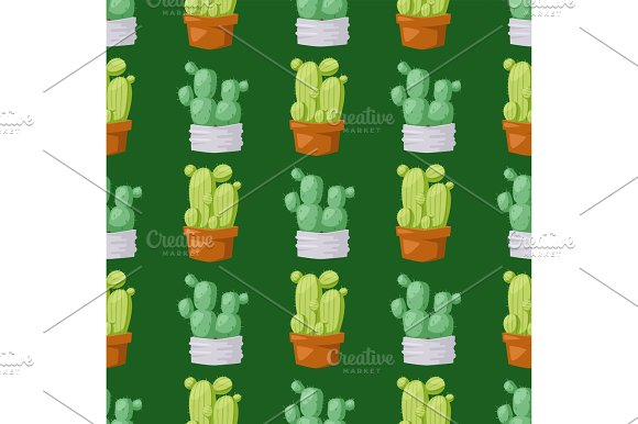 Cactus Nature Desert Flower Green Mexican Succulent Tropical Plant Seamless Pattern Cacti Floral Vector Illustration