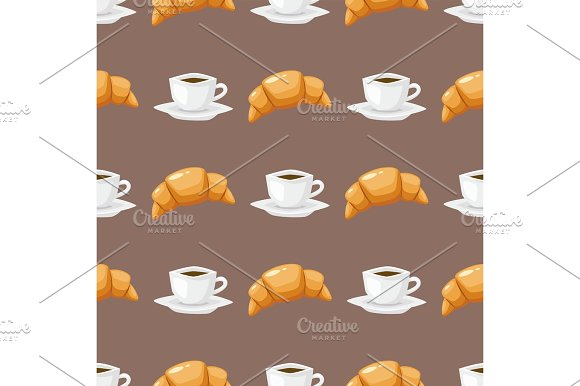 Coffee And Croissant Seamless Pattern Brown Caffeine Breakfast Morning Sweet Drink Vector Illustration