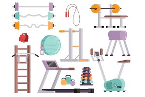 Fitness gym club vector icons athlet and sport activity body tools wellness dumbbell equipment