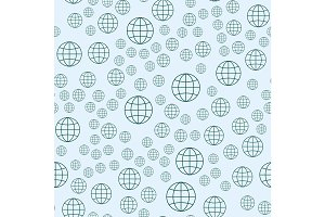 Globe earth geography element seamless pattern planet map education symbol vector illustration.