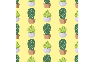 Cactus nature desert flower green mexican succulent tropical plant seamless pattern cacti floral vector illustration.