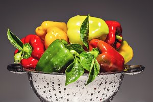 Pepper in a stainless steel colander