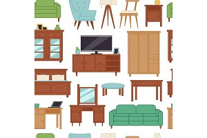 Furniture interior home design modern living room house seamless pattern background vector illustration
