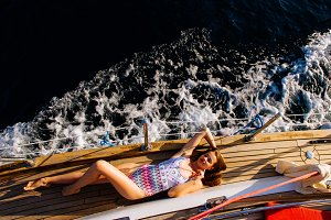 luxury woman relax on yacht