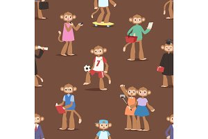 Monkey like people cartoon characters animal ape funny seamless pattern background vector illustration
