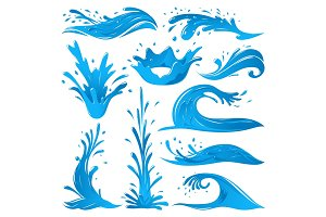 Set of water splashes wave twirl isolated surge blue sparks breaker vector illustration