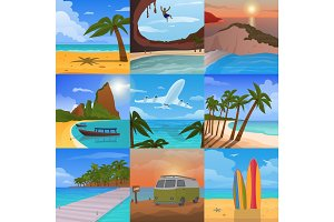 Summer time vacation nature tropical beach landscape of paradise island palm trees holidays vector illustration.