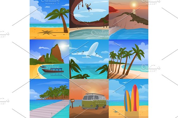 Summer Time Vacation Nature Tropical Beach Landscape Of Paradise Island Palm Trees Holidays Vector Illustration