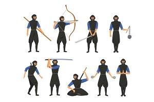 Ninja fighter black cloth character warrior japanese man cartoon warrior soldier person vector illustration