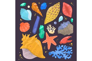 Sea shells marine cartoon clam-shell and ocean starfish coralline vector illustration isolated