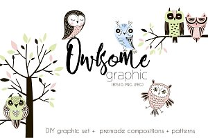 Decorative owls graphic set