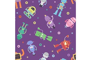 Robots and transformer androids cartoon toys character robotics machine cyborg vector seamless pattern background