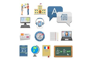 Vector illustration icons for educational programs languages distance education online learning