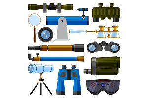 Camera lens and binoculars glass, spypyglass optics ocular device optical equipment spyglass, telescope vector illustration