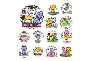 Pet badge vector graphic sticker set domestic insignia cat dog veterinary animal sticker illustration