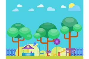 Children playground fun childhood play park activity flat vector illustration