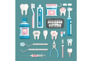 Health care dentist medical tools medicine instrument stomatology icons implantation clinic vector illustration.