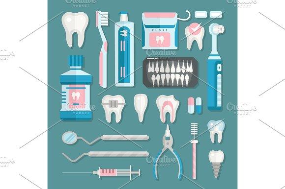 Health Care Dentist Medical Tools Medicine Instrument Stomatology Icons Implantation Clinic Vector Illustration