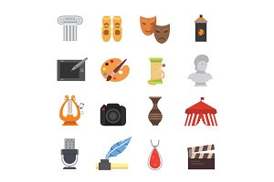 Design and art skill icons artistic entertainment symbols graphic creativity vector collection symbols.
