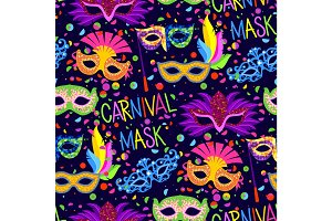Authentic handmade venetian carnival face mask party decoration masquerade vector seamless pattern background