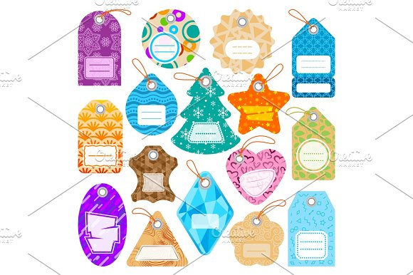 Stylish Price Clothes Tag With Pattern Sale Card Stickers Collection Paper Blank Business Promotion Badge Vector Illustration