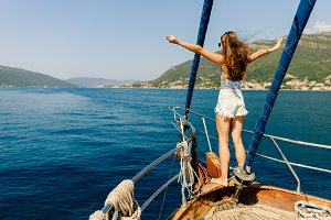 luxury woman yachting in sea
