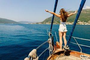 luxury woman yachting in sea