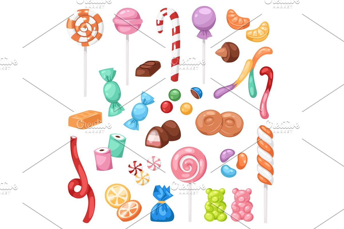 Cartoon sweet bonbon sweetmeats candy kids food sweets mega collection isolated on white background