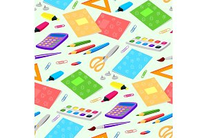 School or office supplies educational accessories vector illustration seamless pattern background