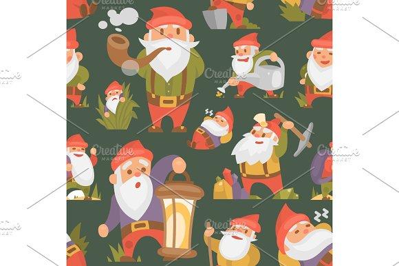 Fairy tale fantastic gnome dwarf elf character magical leprechaun cute fairy tale man vector seamless pattern background