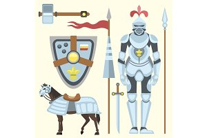 Heraldic royal crest medieval knight elements vintage king symbol heraldry brave hero vector illustration