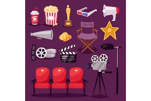 Cinema movie making TV show equipment tools symbols icons vector set illustration.