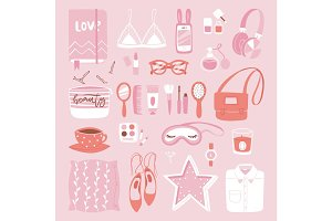 Vector fashion girl clothing and accessories isolated shopping items and beautiful cosmetic or makeup.